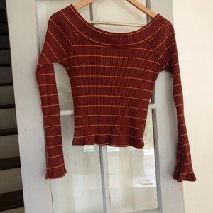 Silence + Noise off the shoulder orange sweater